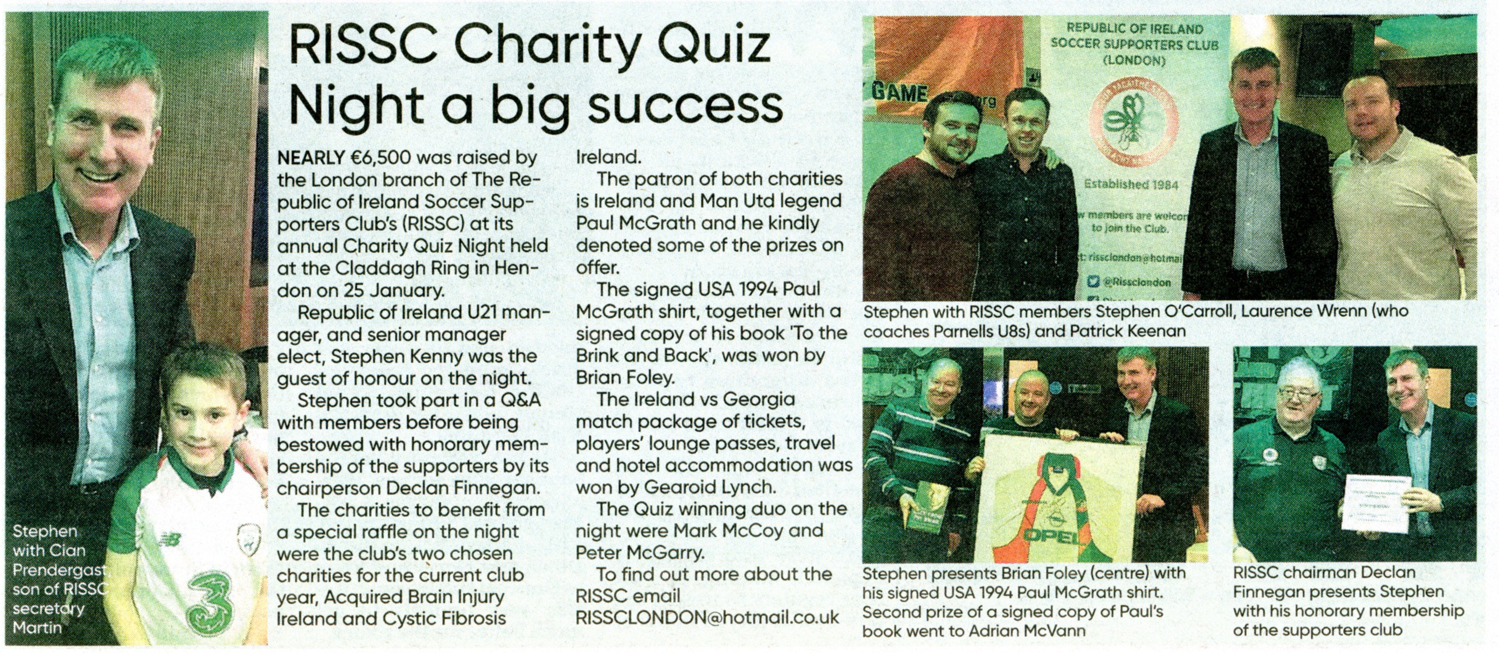 fecdac998f1bb Scan of The Irish World article reviewing the RISSC London January 2019  Charity Quiz & Meeting with stephen kenny